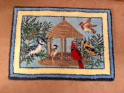 "Handmade Winter Birds 40"" x 28"" Latch Hook Completed Rug By Mary Maxim"
