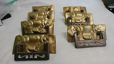 "7 Large Drawer Pulls brass back plates with silver bails approx. 5 1/4"" x 2 1/4"""