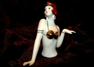 Teepuppen Mata Hari Sexy Half Doll Pincushion Arms Away Art Deco Stil Art Nouvea