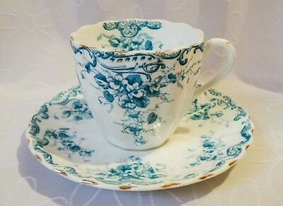 Antique RH & SL Plant Tuscan china Staffordshire c1898 Blue floral Tea cup