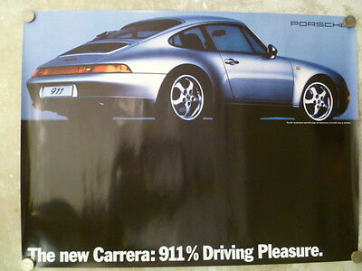 "1993 Porsche 911 Coupe ""911% Driving Pleasure"" Showroom Advertising Poster RARE!"