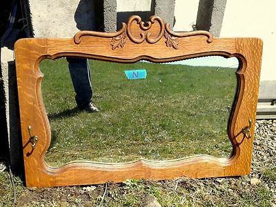 Antique Tiger Oak Hanging Wall Mirror with Hat Hooks Circa 1890