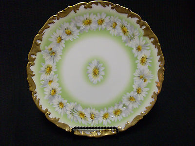 """Limoges T & V  Hand Painted Daisy Plate Heavy Gold Edge 8 1/4"""" In Diameter"""