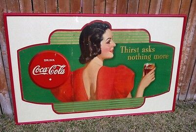 Rare Find - 1938 Coca Cola Cardboard Advertising - Framed/Matted - Awesome