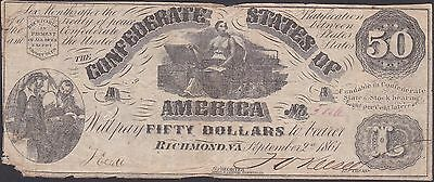 Confederate CSA 1861 Fifty Dollars