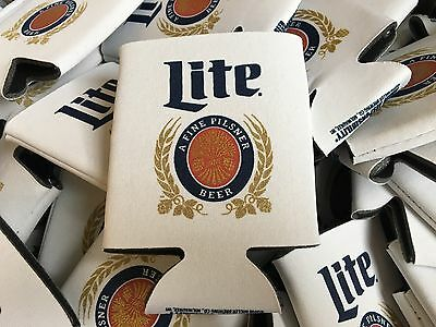 Brand New Miller Lite Beer Can Koozie 2 Coozies Insulator Throwback White