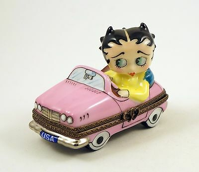 New French Limoges Trinket Box Cute Betty Boop In Pink Car Sunday Drive