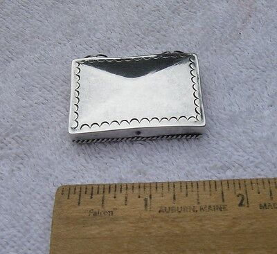 Old MADE IN MEXICO Silver PILL BOX-Decorative Border-Wire Hinges-NR