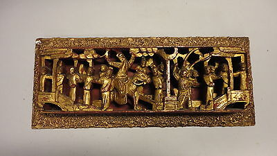 Vintage Asian Gold Gilt Covered Carved Wood Relief Wall Hanging Panel
