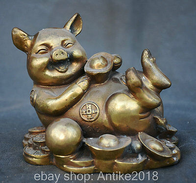 """5.6"""" Marked China Copper Fengshui Pig Wealth Money Coin Yuanbao Lucky Sculpture"""
