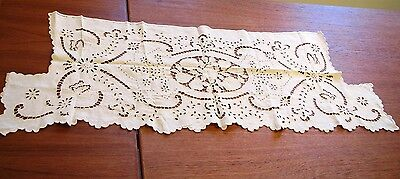 Antique Table Runner French Cutwork Linen Fireplace Mantle Scarf Shelf Cover