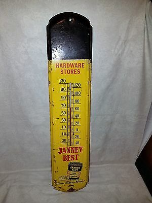 "Vintage Hardware Store Janney Best Metal Thermometer 36""x8"" Paint Advertising"