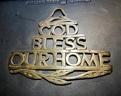 Vintage hand made brass sign wall hanging plaque god bless our home