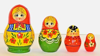 Traditional Russian Matryoshka wooden nesting dolls, 4 pcs, Russia