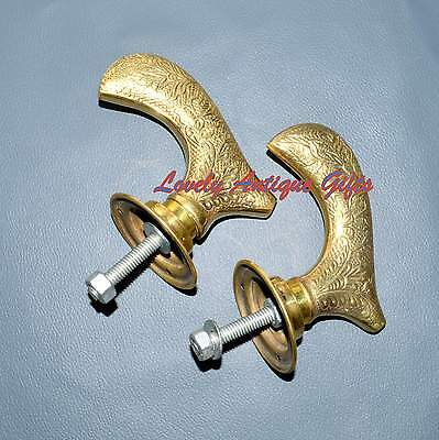 Vintage pair of brass door knobs brass handles complete with bar & plates @