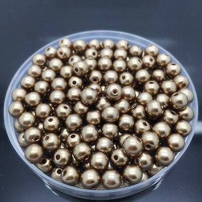NEW 4mm 200Pcs Brown Acrylic Round Pearl Spacer Loose Beads Jewelry Making