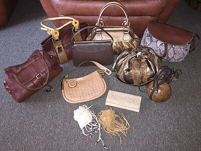 Lot of 11 Shades of Brown/Tan Leather Designer Purses Wallets Handbags Pouches