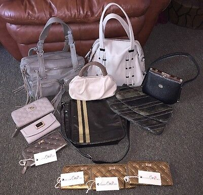 Lot of 12 Shades of Gray Gold Leather Designer Purses Handbags Wallets High End