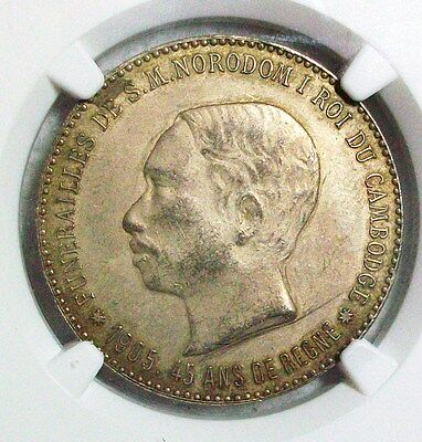 1905 Cambodia Norodom I Silver Funeral Medal Ngc Au-Details L@@k