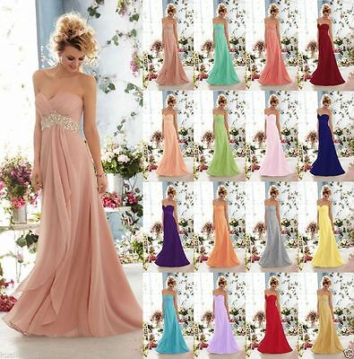 Long Chiffon Formal Wedding Evening Party Ball Gown Prom Bridesmaid Dress 6-16