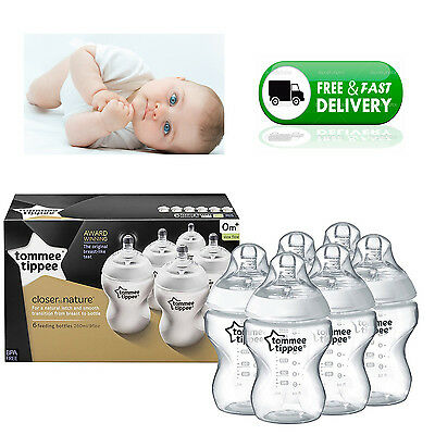 Tommee Tippee Closer to Nature Feeding Baby Bottles Pack of 6 260ml 9oz BPA Free