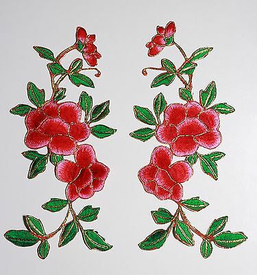 2 x Extra large flower patches applique patch motif iron/ sew on trim Red #1