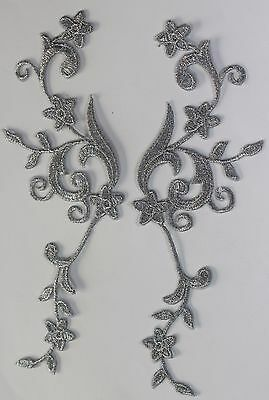 2 x Extra large flower patches applique patch motif iron/ sew on trim Silver  #2