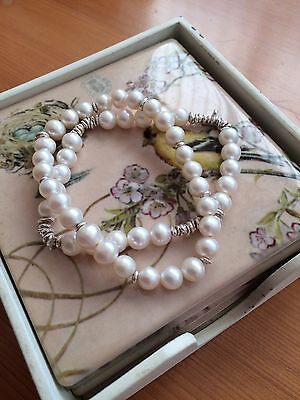 Silver And Freshwater White Pearls Bracelet Set Of 2 Handmade Stretch New