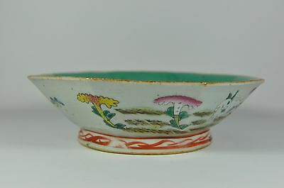 "Fine Old 8.5"" China Chinese Famille Rose Octagonal Porcelain Bowl Art"