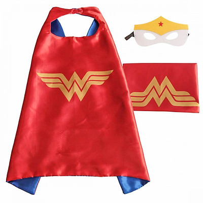 (Wonder Woman)ROXX Superhero Kids Girl Boy Cape and Mask Costume for Child