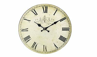 Vintage French Cafe Des Marguerites Shabby Chic Antique Cream Wooden Wall Clock