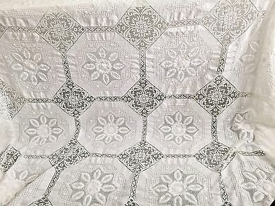 Amazing Antique Madeira Linen Lace Embroidered Banquet Tablecloth 10 Napkins