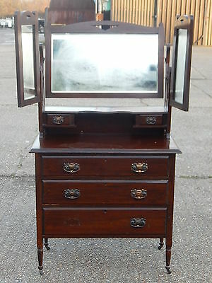 Antique Edwardian oak dressing chest of drawers dresser table with tri-mirrors