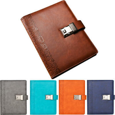 Retro A5 Business Notebook Embossed Leather Diary with Password Lock 192 Pages