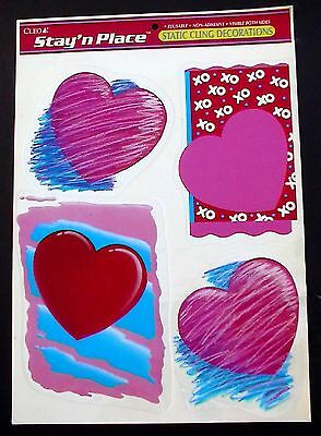 Vintage Cleo Clings Valentine's Day Red & Pink Hearts Reusable Window Stickers!