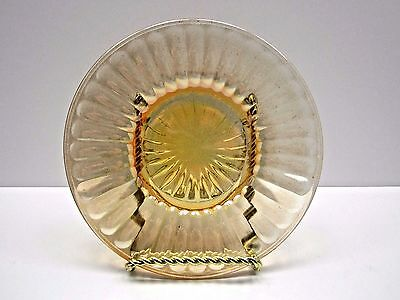 Iridescent Marigold Carnival Glass Ribbed Dessert Small Plate By Imperial Glass