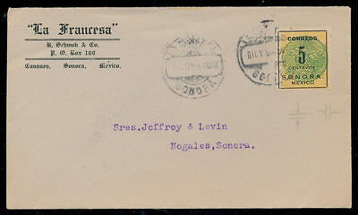 vw54 Mexico Cover #396 5ctv Sonora Coach Cananea > Nogales Dec 1914 Seal offset