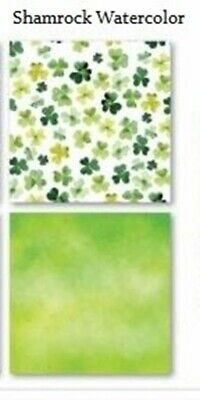 Watercolor Shamrock Print St Patricks Day - 12x12 Scrapbook Papers - 5pc - by Re