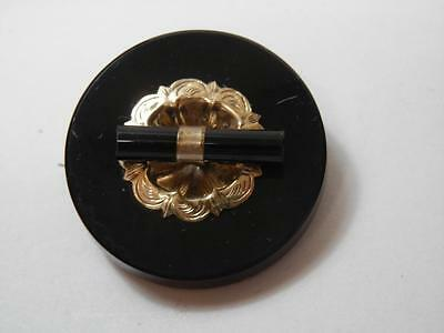 Victorian Mourning Brooch Pin &Pendant Black Onyx Rolled Gold Center Detail