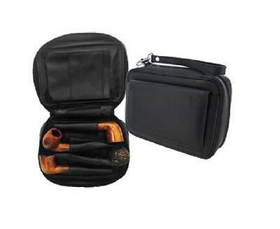 Closeout Black Genuine Leather Combination 4 Pipes Pipe Bag With Tobacco Pouch