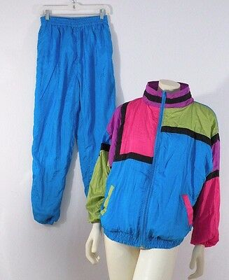 Vintage 1980s Blue Color Block Windbreaker Jacket Pants Windsuit  L
