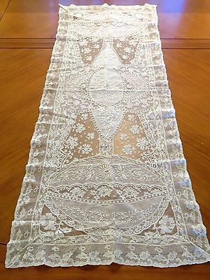 "Antique French Normandy Lace Runner Embroidered Table Centerpiece 42"" x 16"""