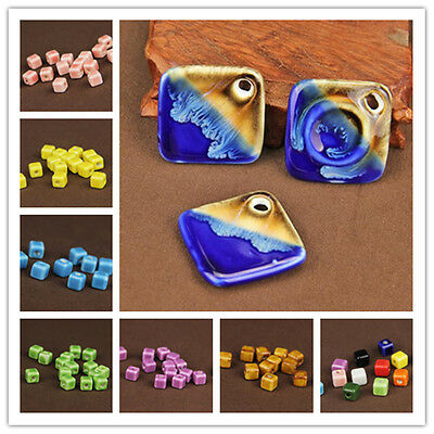 5Pcs Colorful Faceted Square Cube Ceramic Porcelain Loose Big Hole DIY Beads