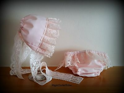 Newborn Bonnet Pants Set.Baby Pink vintage Hat and Pants Set.photo prop girl set