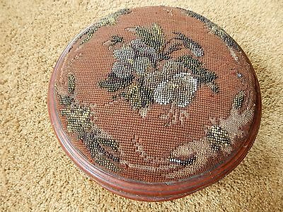 Antique Early Victorian Round Beaded Pansy Needlepoint Footstool, As Found