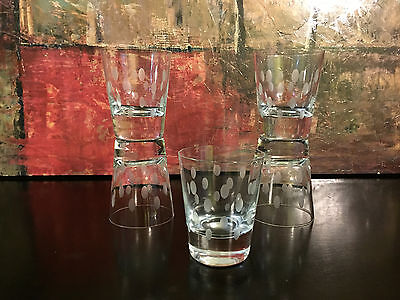 """5 Vintage Dimpled Etched High Ball Rocks Old Fashioned Glasses Heavy Base 4.25"""""""