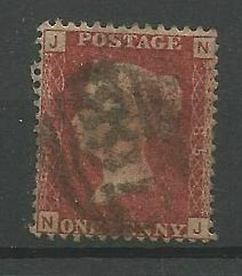 1858 SG43/44 1d Red, Plate 85 Good Used 'NJ'