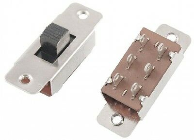 Uxcell On/Off/On 3 Position DPDT 2P2T PCB Panel Slide Switch, 6 Amp/125V, 3 VAC