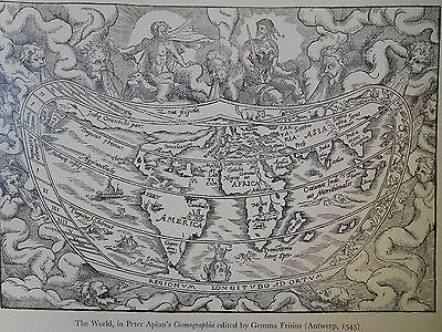 1545 Antique Map Of The World - Peter Apian - Gemma Frisius - Reproduction