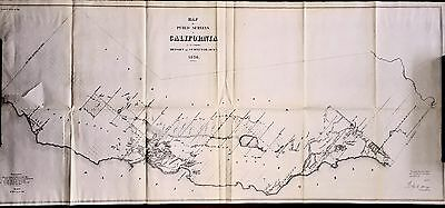Rare, 1854 Giant Map Of California, Survey of the Entire State